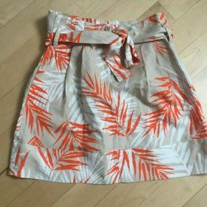 sandro linen mini skirt tan orange white sz 4